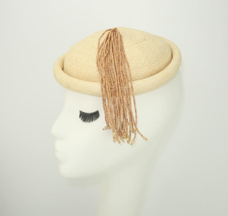 Straw Fascinator Style Hat With Beaded Tassel, C.1980 In Good Condition For Sale In Atlanta, GA