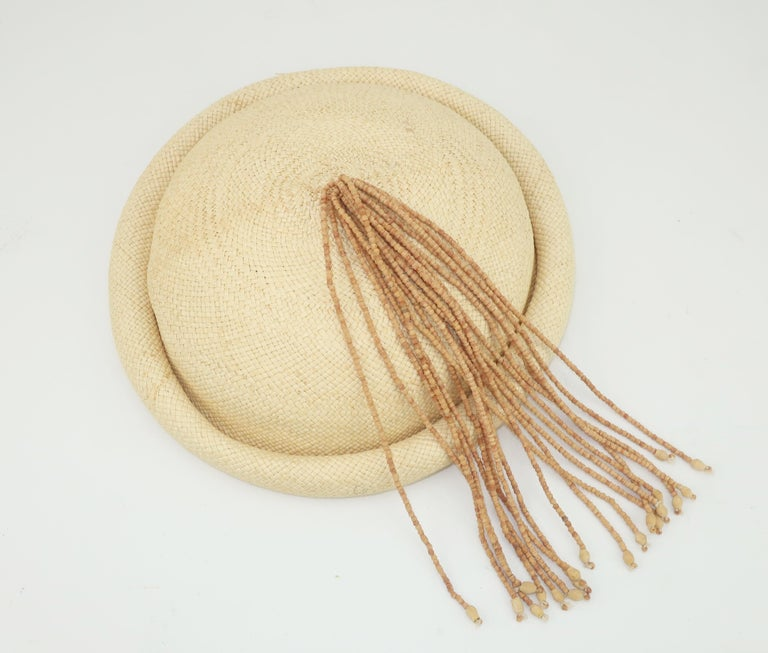 Women's Straw Fascinator Style Hat With Beaded Tassel, C.1980 For Sale