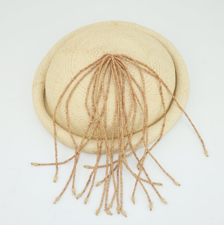 Straw Fascinator Style Hat With Beaded Tassel, C.1980 For Sale 1