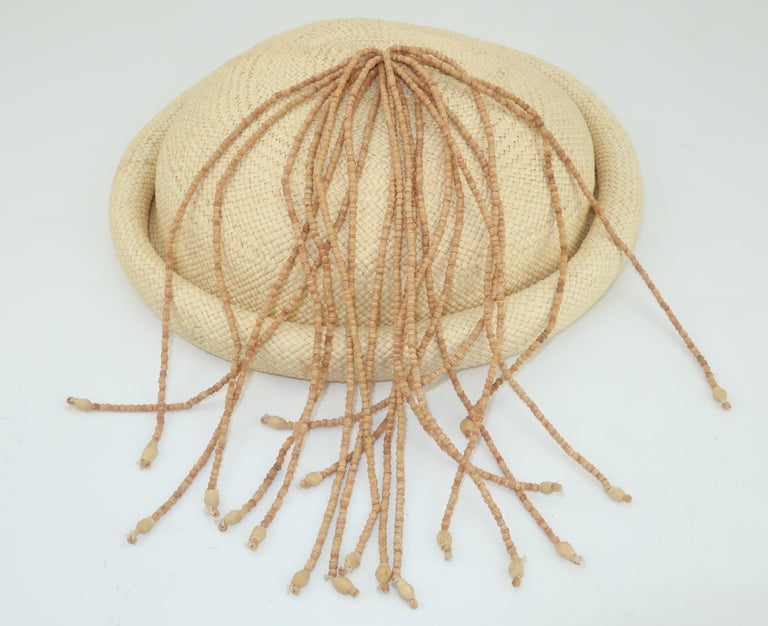 Straw Fascinator Style Hat With Beaded Tassel, C.1980 For Sale 2