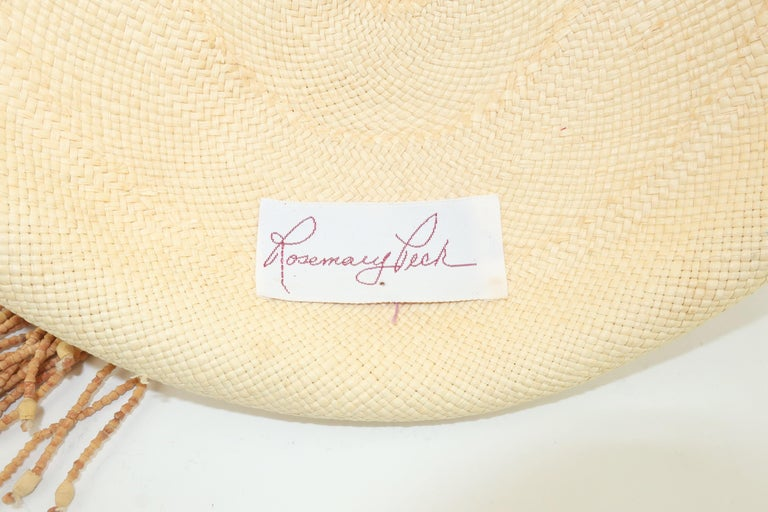 Straw Fascinator Style Hat With Beaded Tassel, C.1980 For Sale 4
