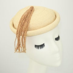 Straw Fascinator Style Hat With Beaded Tassel, C.1980