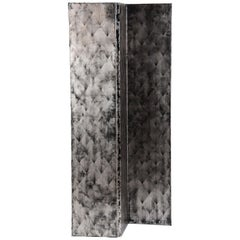 Straw Marquetry Bua Screen in Silver Leaf on Black Lacquer by Elan Atelier