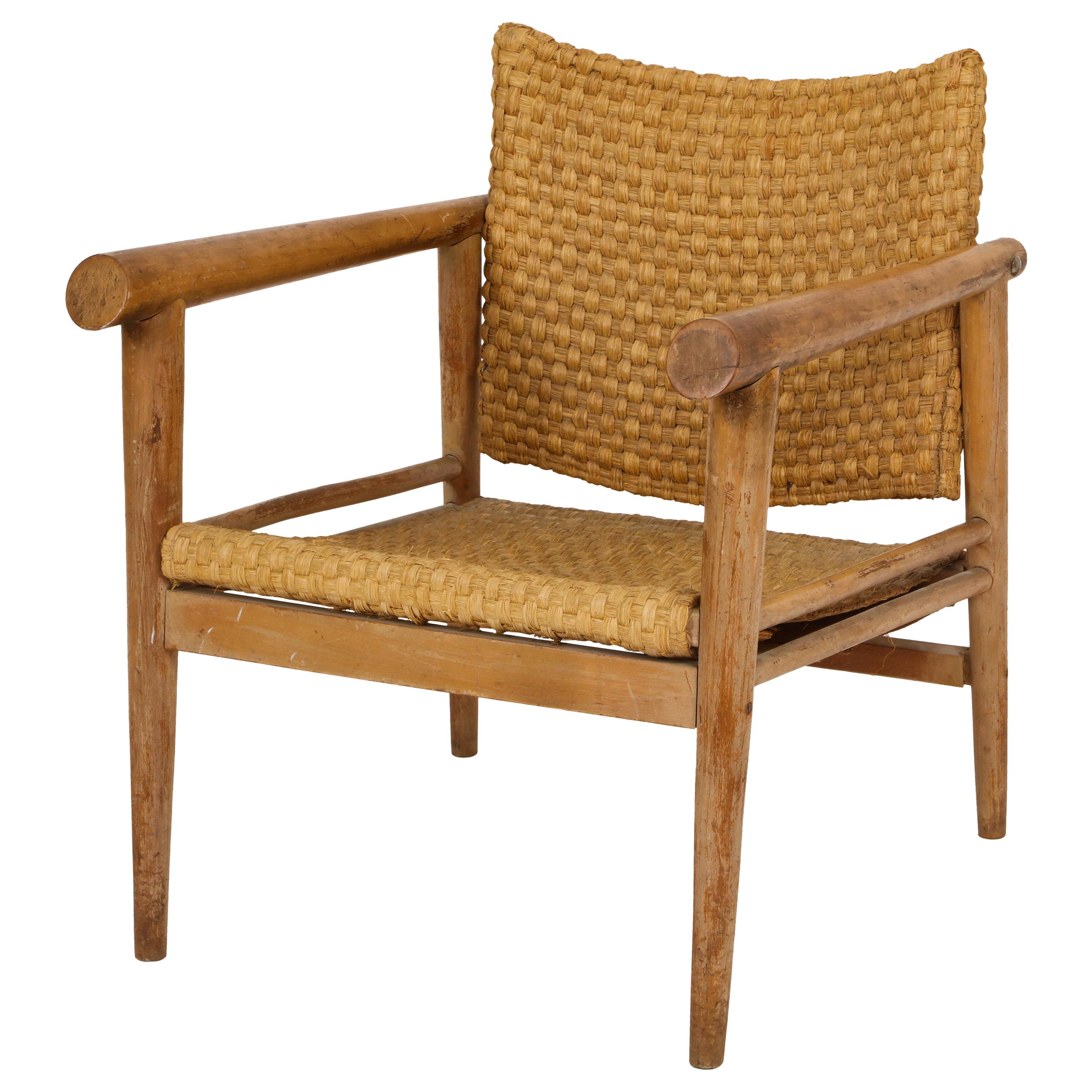 Straw Wicker Woven Rush Chair Midcentury Jean Michel Frank Style, 1930, France