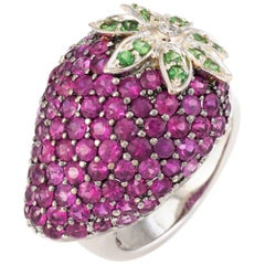 Strawberry Cocktail Ring Estate Ruby Tsavorite Garnet Diamond Fruit Jewelry