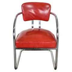 Streamline Art Deco Cantilever Chair Chrome & Red Vinyl Attr Kem Webber-Lloyds