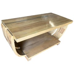 Streamline Art Deco Natural Stain Mahogany Coffee Table by Brown Saltman