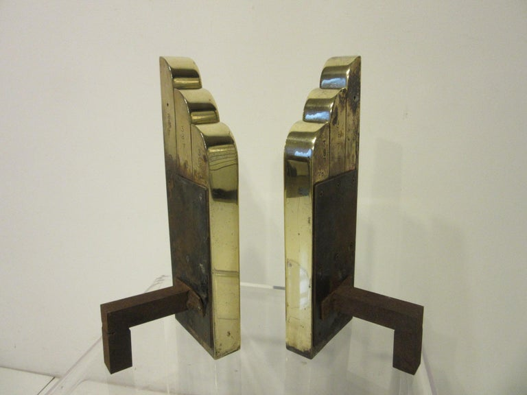 Streamline Art Deco Solid Brass Fireplace Andirons in the Style of Deskey For Sale 5