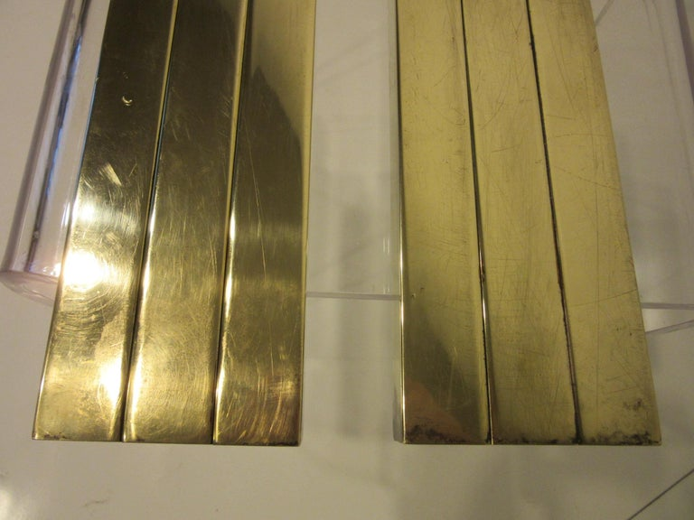 Streamline Art Deco Solid Brass Fireplace Andirons in the Style of Deskey For Sale 6