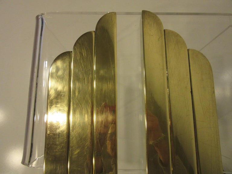 Streamline Art Deco Solid Brass Fireplace Andirons in the Style of Deskey For Sale 7