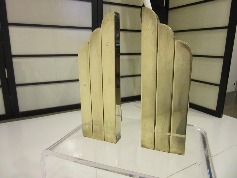 American Streamline Art Deco Solid Brass Fireplace Andirons in the Style of Deskey For Sale