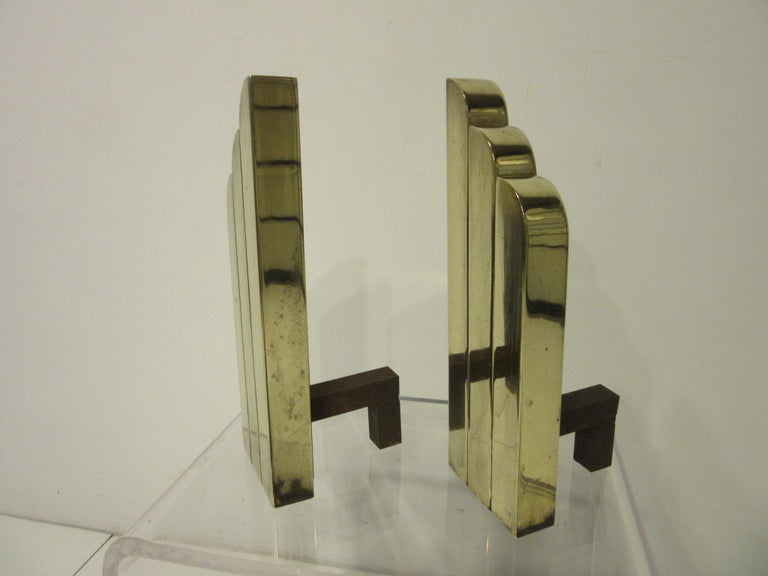 Streamline Art Deco Solid Brass Fireplace Andirons in the Style of Deskey In Good Condition For Sale In Cincinnati, OH