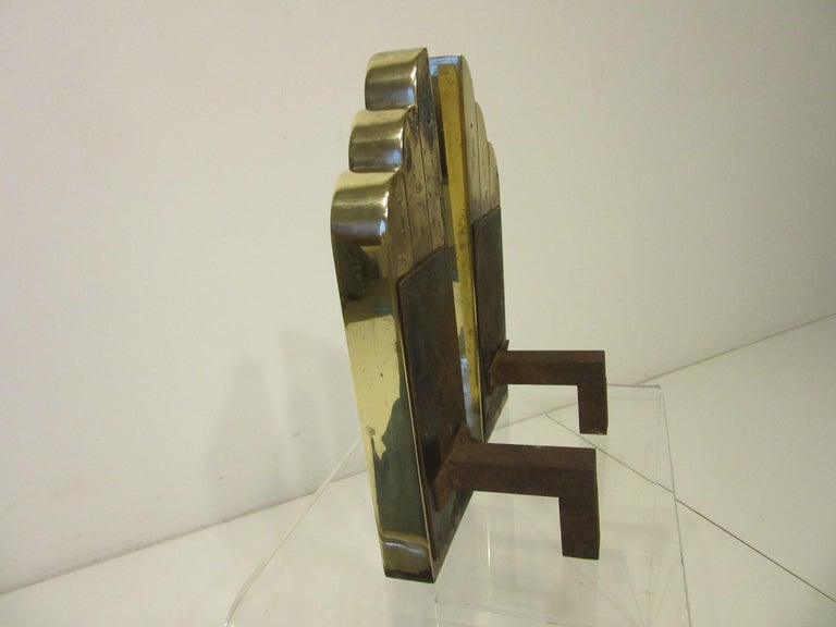 20th Century Streamline Art Deco Solid Brass Fireplace Andirons in the Style of Deskey For Sale