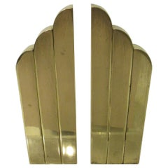 Streamline Art Deco Solid Brass Fireplace Andirons in the Style of Deskey