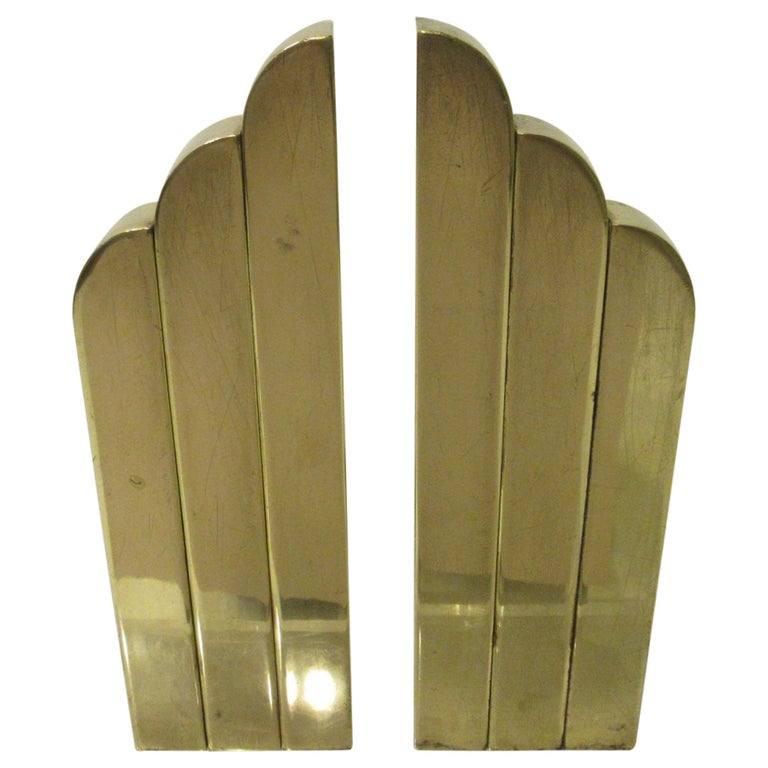 Streamline Art Deco Solid Brass Fireplace Andirons in the Style of Deskey For Sale