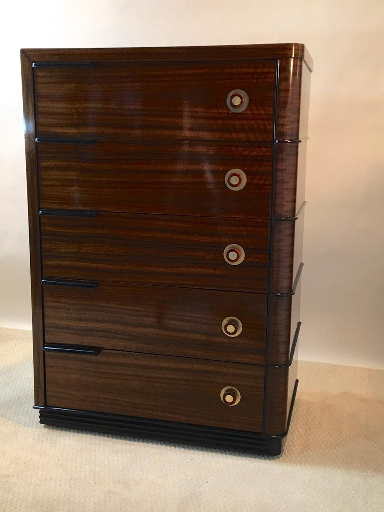 Streamline Art Deco Tall Chest of Drawers For Sale 3