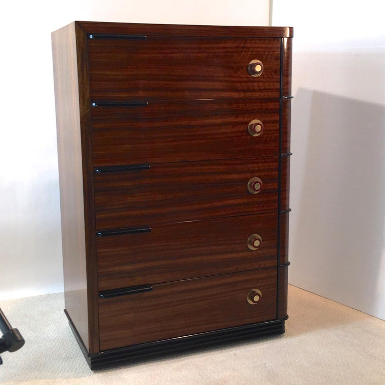 Streamline Art Deco Tall Chest of Drawers For Sale 6
