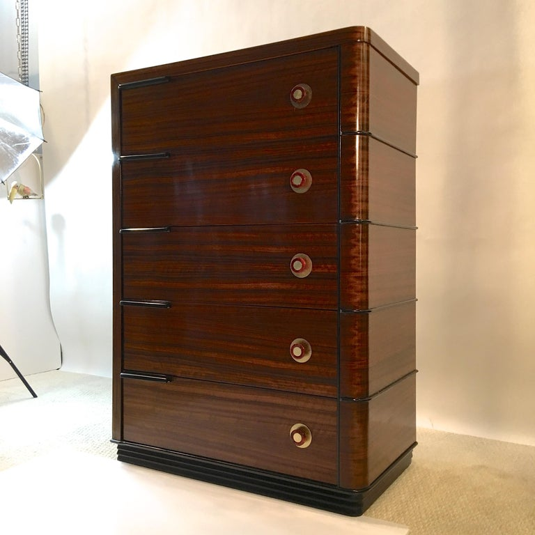 Streamline Art Deco Tall Chest of Drawers For Sale 9