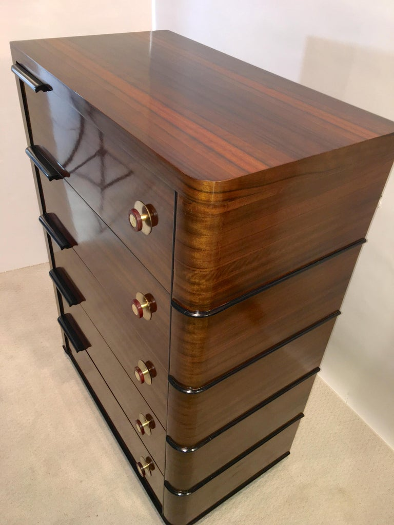 Streamline Art Deco Tall Chest of Drawers For Sale 12