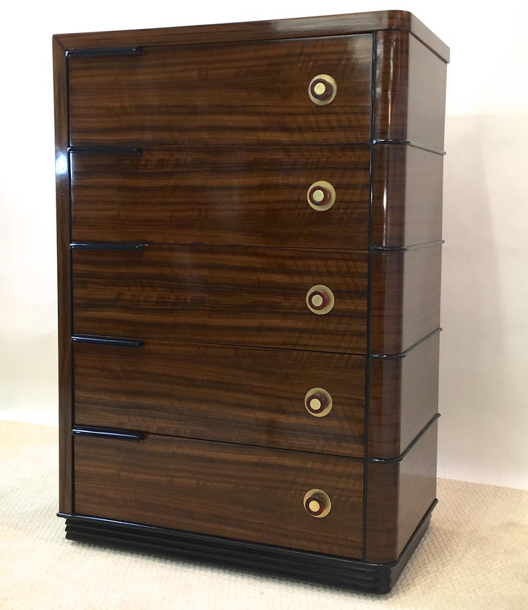 Brass Streamline Art Deco Tall Chest of Drawers For Sale