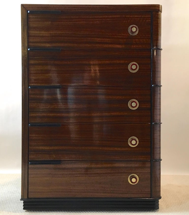 Streamline Art Deco Tall Chest of Drawers For Sale 1