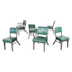 Streamline Industrial Metal & Green Vinyl Faux Leather Dining Chairs Set of 6