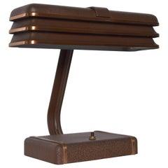 Streamline Industrial Modern Art Deco Metal Desk Lamp Donald Deskey Era, 1930s