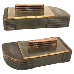Streamline Modern Petite Art Deco Copper and Lucite Box