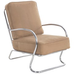 Streamline Moderne KEM Weber for Lloyd Chrome Tubular Lounge Chair, circa 1940s