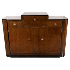 Streamlined Art Deco Bar/Cabinet in Bookmatched Elm with Plexi Pulls