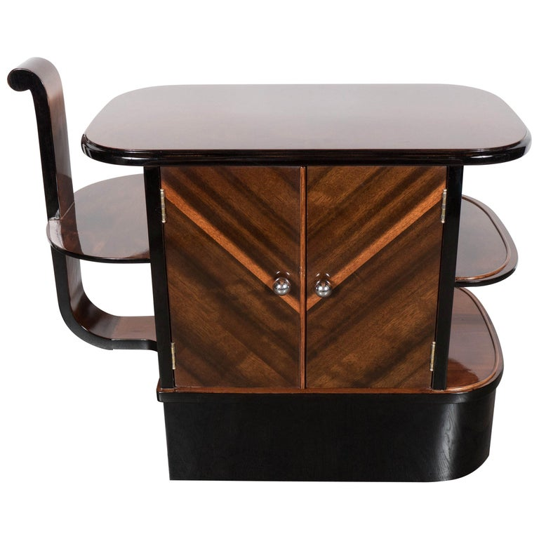 Streamlined Art Deco End Table or Dry Bar Cabinet in Book-Matched Exotic Walnut For Sale