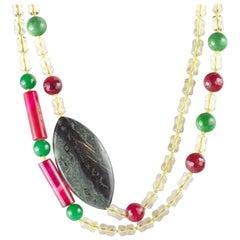 Streamlined Citrine Quartz Agate Jasper Beaded Long Wrap Around Intini Necklace