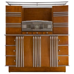 Streamlined Italian Cupboard from the 1930s in Wood and Chrome
