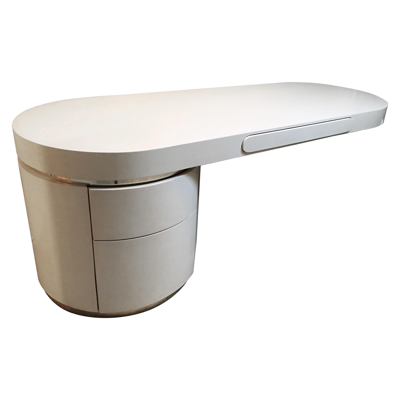"Streamlined ""Ponte"" Single Pedestal Lacquered Desk Designed by J. Wade Beam"
