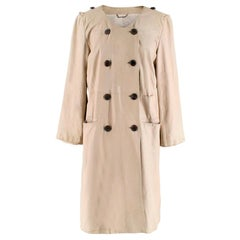Strenesse Beige Leather Double-Breasted Coat M 40