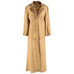 Strenesse Camel Lamb Leather & Shearling Coat 12 UK