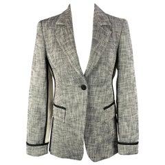 STRENESSE Size 4 Black & White Cotton Blend Jacket Blazer