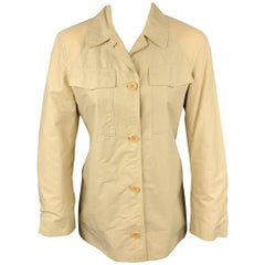 STRENESSE Size 6 Beige Cotton Patch Pocket Buttoned Jacket