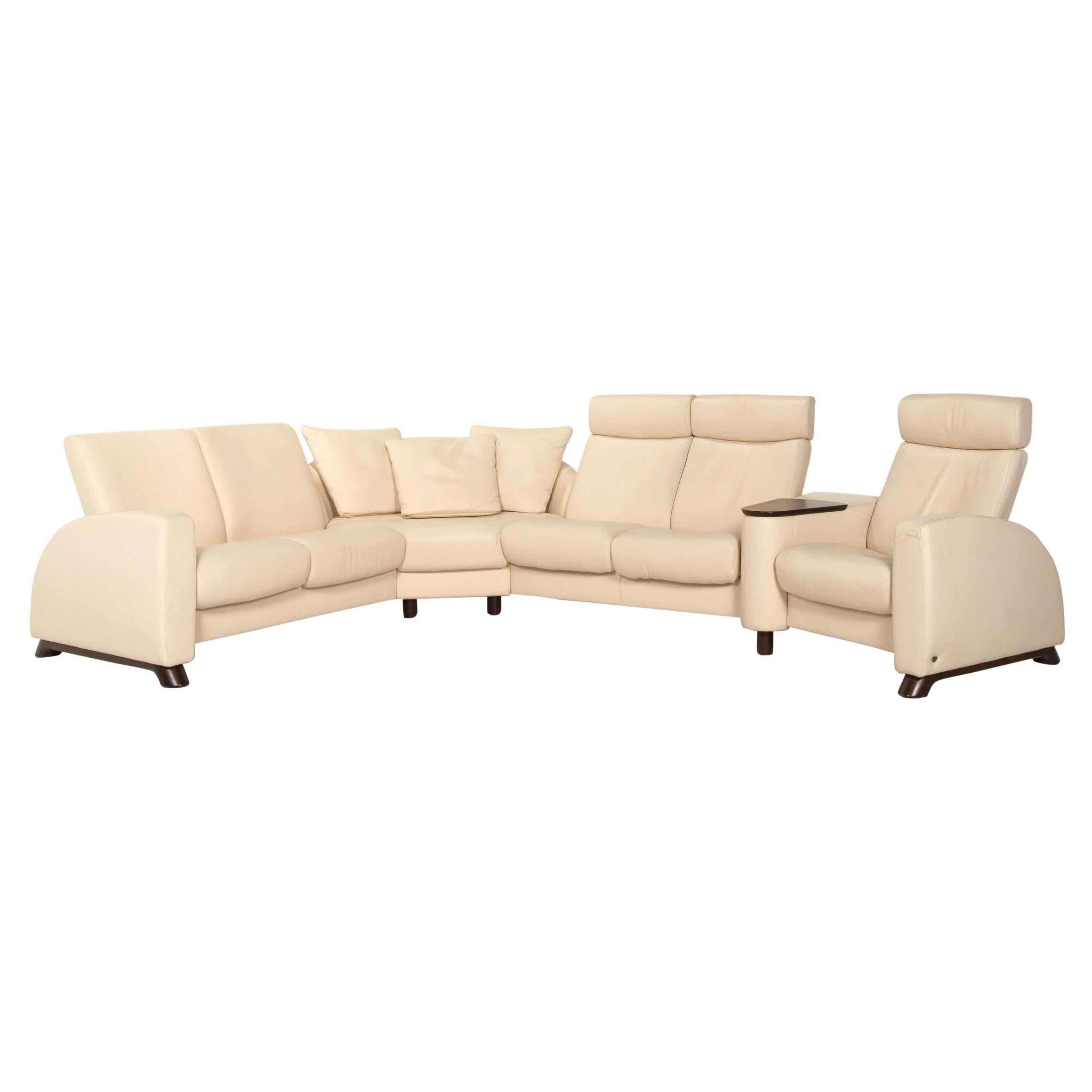 Stressless Arion Leather Corner Sofa Cream Relax Function Sofa Couch