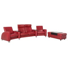 Stressless Arion Leather Sofa Red Four-Seat Function Home Theater