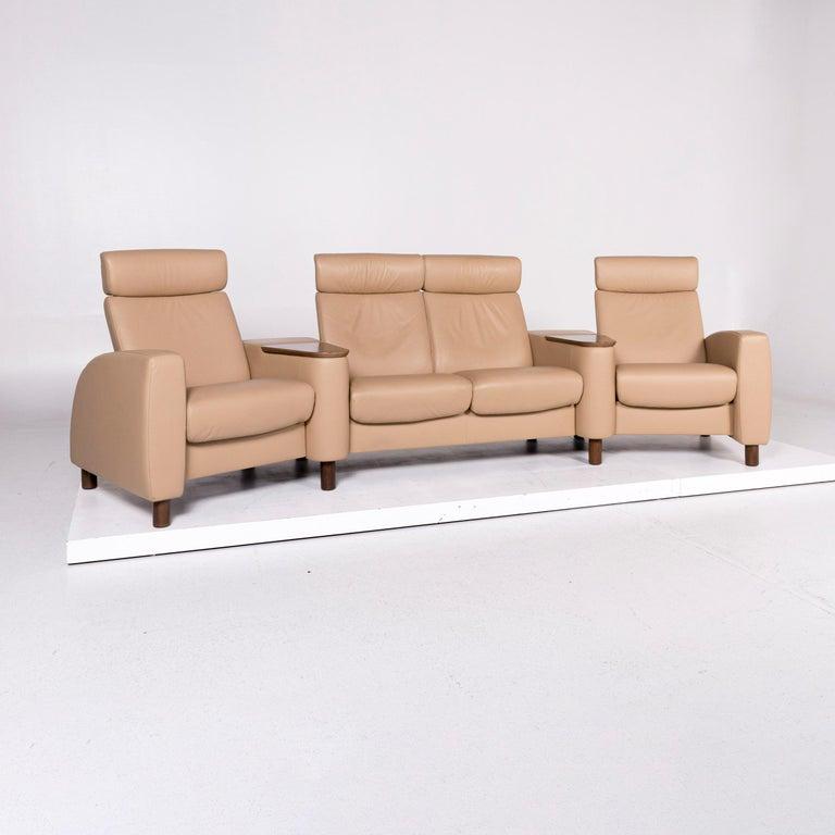 Sofa Set Beige 1 Four Seat Stool