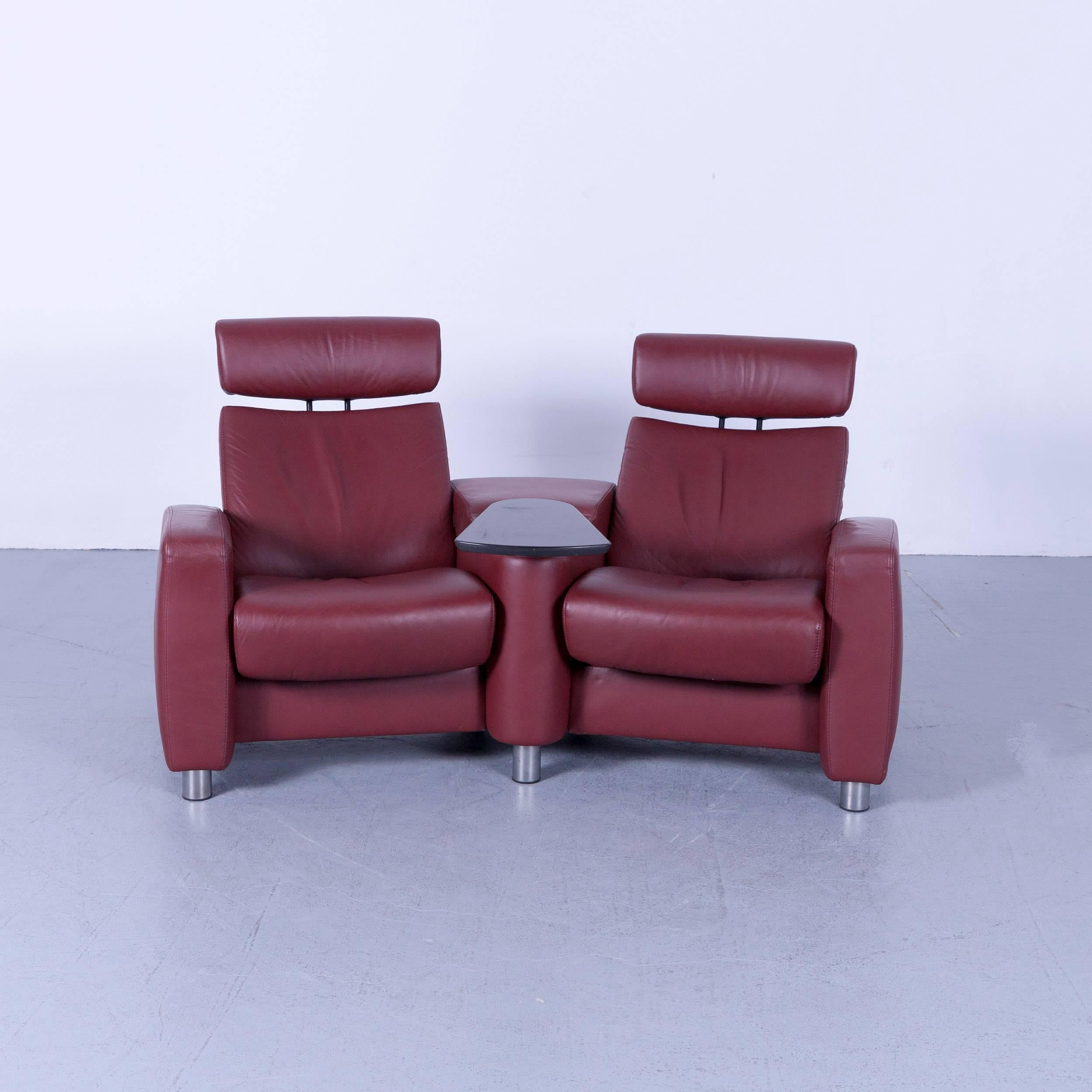 Ekornes Stressless Arion Two Seat Sofa Set In Red Colored Leather Modern  Recliner Chair Designer