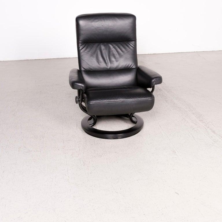 Remarkable Stressless Atlantic M Designer Leather Armchair With Stool Black Genuine Creativecarmelina Interior Chair Design Creativecarmelinacom