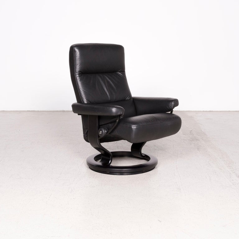 Groovy Stressless Atlantic M Designer Leather Armchair With Stool Black Genuine Creativecarmelina Interior Chair Design Creativecarmelinacom