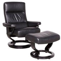 Stressless Atlantic M Designer Leather Armchair with Stool Black Genuine