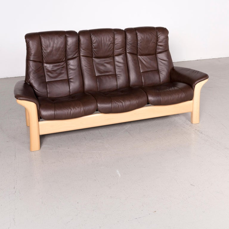 Stressless Buckingham Designer Leather Sofa Brown Genuine Three Seat