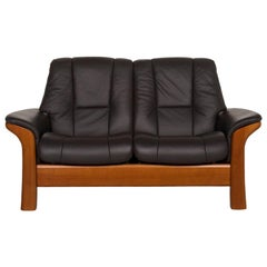 Stressless Buckingham Leather Sofa Anthracite Gray Wood Two-Seat Function