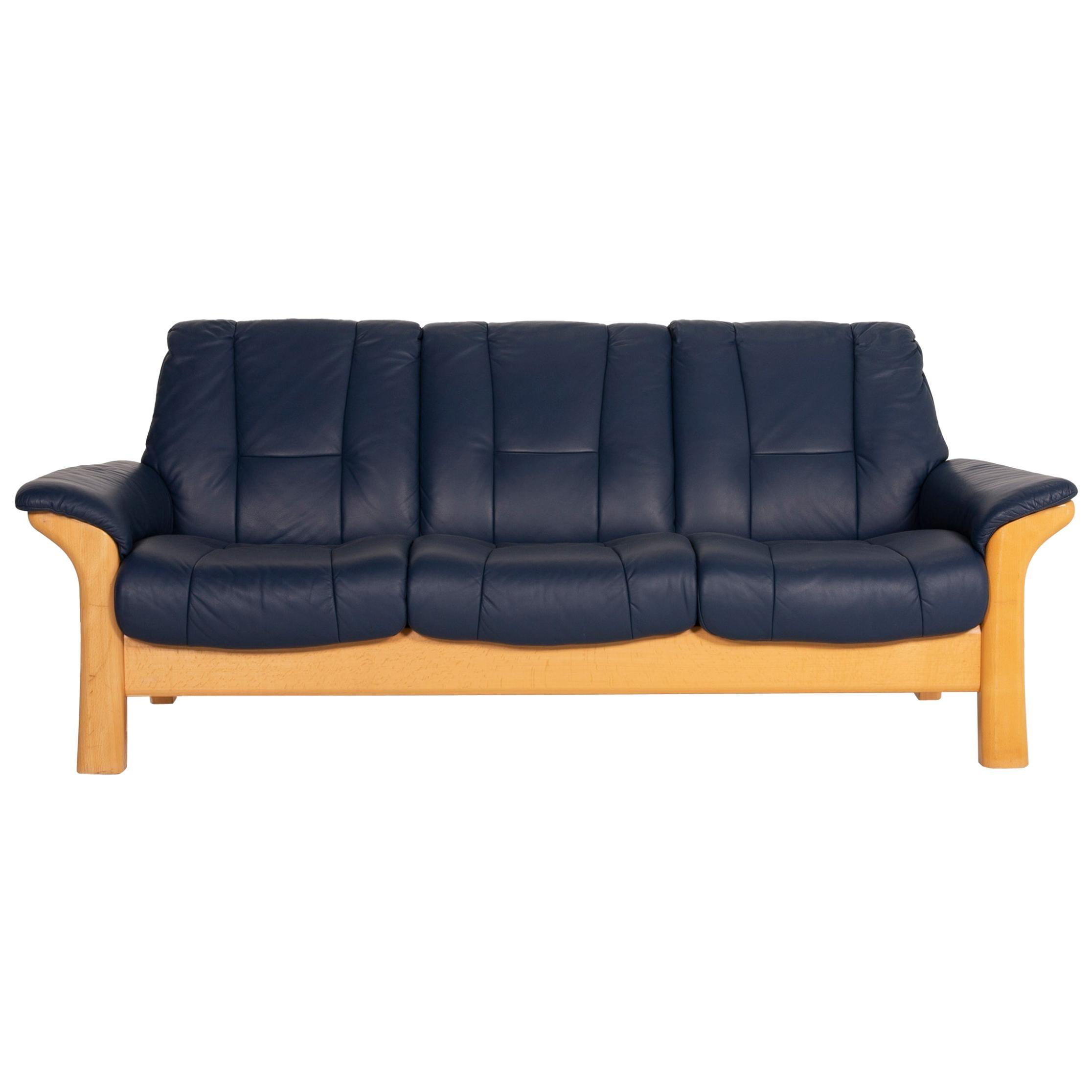 Stressless Buckingham Leather Sofa Blue Three Seater