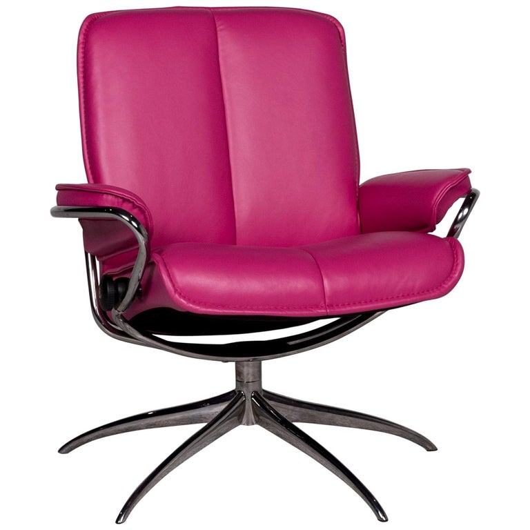 Stressless City Designer Leather Armchair Pink For Sale at ...