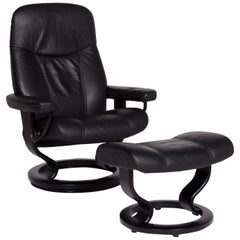 Stressless Consul Leather Armchair Black Includes Stool